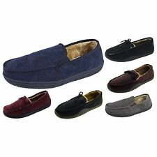Mens Warm Slippers Moccasins Fauxn Suede Sheepskin Fur Lined Shoes Size 6-11