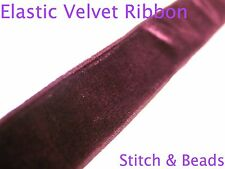 Burgundy Maroon Red Elastic Velvet Ribbon Trimming Luxury Stretch Trim Colour201