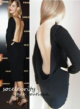 GORGEOUS BLACK BACKLESS OPEN BACK COUTURE MINI DRESS SIZE 6 8 10 12