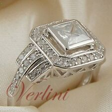 2.25 Ct Princess Cut Cubic Zirconia Engagement Ring 925 Silver Wedding Size 5-10