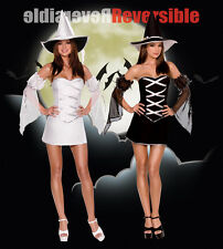 Adult Ladies Sexy Good Bad Reversible Witch Fancy Dress Halloween Costume