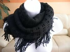 NEW winter warm womens fringe knitted crochet infinity circle scarf Wrap loop