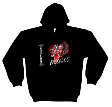 I LOVE NINETIES 90s MUSIC HEAVYWEIGHT RHINESTUD  HOODY  HOODIES (any size)