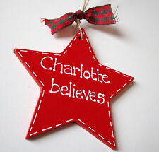 Handmade Personalised Red Wooden Star Christmas Decoration Gift