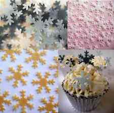 Christmas Cake Decorations - Cupcake Snowflakes - Edible Wafer Snowflakes x 40