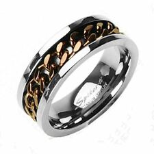 Solid Titanium Grooved Center Coffee IP Chain Inlay Men's' Band Ring Sz 9-14