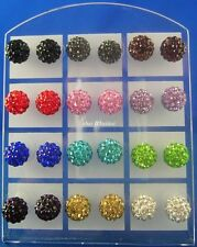 24pcs (12 pairs) 6mm 8MM 10mm Disco Ball Crystal CZ Surgical Steel Stud Earrings