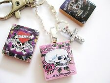 ED HARDY inspired Key/bag charm with crystal cross (skull, tattoos, love,hell)