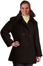 Black Military Women's US Navy Type Wool Peacoat