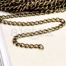 4m Antique Brass Silver Gold Black Iron Curb Unfinished Chains 0.8x3x4mm Choose