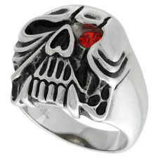 Stainless Steel Gothic Carved Skull Biker Ring w/ Red CZ Stone Eye