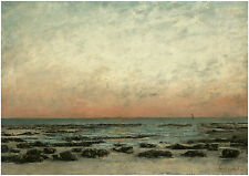 The Shore at Trouville: Sunset Effect;  - GUSTAVE COURBET-Great Maritime Art