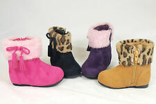 Little Angel ICE-632 Baby Girl's Leopard Winter Fur Boots w/Zipper and Bow