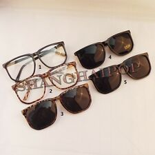 Oversized Super Dark Lens Sunglasses Nerd Hot Leopard Clear Glasses Square Frame