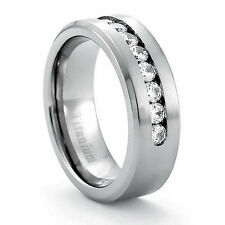 Solid Titanium Brushed Center Round Cubic Zirconia Men's Wedding Band Ring