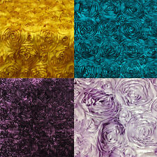 "10 Yards 58"" Rosette Satin Fabric 22 Colors Ribbon Rose Wedding Dress Home Decor"