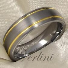 Tungsten Wedding Band 14K Gold Class Mens Ring Jewelry Titanium Color Rings Size
