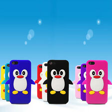For Apple Iphone 5 3D Designer Cute Penguin Soft Silicone Gel Phone Case Cover
