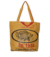 Cambodian Recycled Large Zip Deluxe Fish Feed Tote Handmade!!
