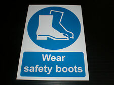 Wear Safety Boots Plastic Sign Or Sticker Choice Of Sizes Employee Safety Shoes