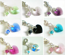 SWAROVSKI Elements  Heart with Dangle ~ Bail or Clip on Charm Bead FOR Bracelet