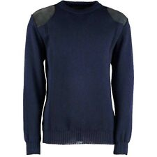 FINE KNIT CLASSIC CREW NECK JUMPER. 100% BRITISH WOOL WITH SUEDE PATCHES. #70006