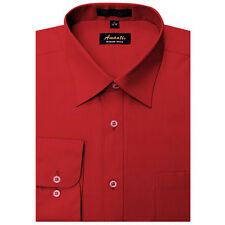 New Amanti Mens Apple Red Solid Wedding Formal Dress Shirt & Free Shipping