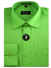 New Amanti Mens Solid  Apple Green Wedding Formal Dress Shirt     Free Shipping