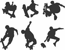 Skateboard action vinyl  wall stickers decals set of six decor boy bedroom