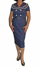 Vintage Dress 50s Rockabilly Sailor Dress Pinup Style Pencil Wiggle Navy & White