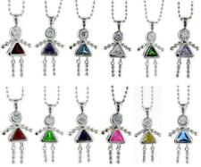 "Sterling Silver Birthstone Baby Girl Pendant Charm w/Colored CZ & 18"" BALL CHAIN"