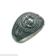 New Men's 0.925 Sterling Silver USMC Marine Corp Military Open Back Ring