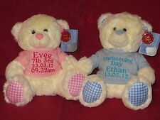 PERSONALISED TEDDY BEAR - CHRISTENING / BIRTHDAY / BIRTHDAY
