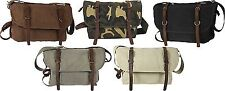 Vintage Military Canvas Messenger Shoulder Bag With Leather Accents