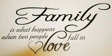 FAMILY IS WHAT HAPPENS WHEN TWO PEOPLE FALL IN LOVE Wall Quote Vinyl decal home