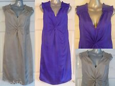 NEW ladies silk dress by PIED A TERRE in cobalt blue or oyster Sizes 8, 10 & 12