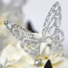Edible Wafer Butterflies  - Wedding Cake Butterfly's -  Silver White Lace - x 12