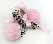 Infant Newborn Baby Girl Light Pink Leopard Print Crib Shoes Pink Rose 0-18Month