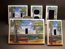PALM TREE TREES TROPICAL BEACH LIGHT SWITCH PLATE COVER OR OUTLETV370