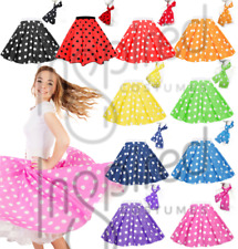 PINK, BLUE, RED & BLACK POLKA DOT ROCK AND ROLL 50s SKIRT & SCARF FANCY DRESS