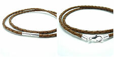MENS/LADIES LEATHER NECKLACE-3mm LIGHT BROWN BRAID-STERLING SILVER CLASP CHOICE