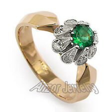 H - SI1 .40 CWT Diamond and .65 CWT Colombian emerald Russian style Ring #R398