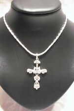 NECKLACE VINTAGE STYLE JEWELLERY, SLIMLINE SILVER METAL DIAMANTE CLEAR CROSS 18""