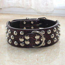 "2"" Wide Croc Brown Pu Leather Studded Dog Collars Pit bull Bully Boxer Terrier"