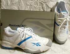 REEBOK original serve and return tennis shoes white with tourquise blue NEW