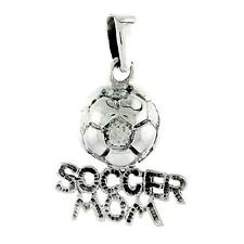 "Sterling Silver Soccer Mom Soccer Ball Pendant / Charm, 18"" Italian Box Chain"