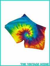 UNISEX NEW VINTAGE BRIGHT SWIRL HIPPY TIE DYE SPRINTER HIP SHORT SHORTS BEACH