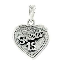 "Sterling Silver Quinceanera Sweet 15 Heart Pendant / Charm,18"" Italian Box Chain"