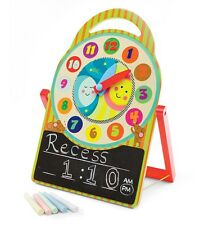 Wooden Tickety Tock Time Learning Clock With Chalk Board Blackboard Childrens