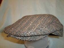 MENS BROWN HERRINGBONE BAKER BOY CAP NEWSBOY PAPERBOY 8-PANEL HAT 1920's STYLE
